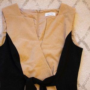 Calvin Klein** Color Block Tan and Black Dress